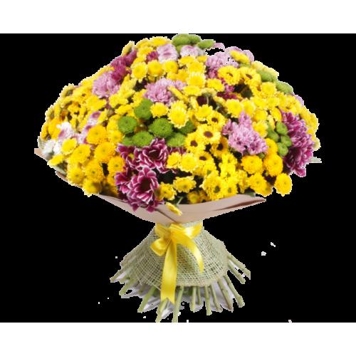 Купить на заказ Заказать Букет из 101 хризантемы с доставкой по Степногорску с доставкой в Степногорске