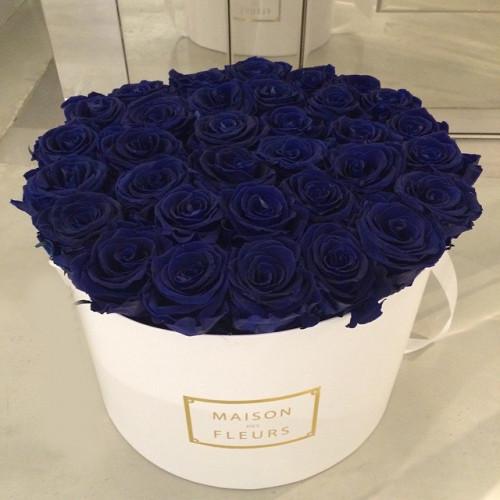 Купить на заказ Заказать Синие розы в коробке Maison с доставкой по Степногорску с доставкой в Степногорске