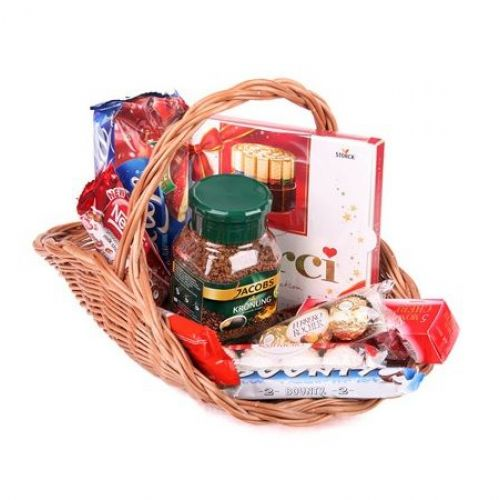 Купить на заказ Заказать Кофейно-конфетная корзина с доставкой по Степногорску с доставкой в Степногорске