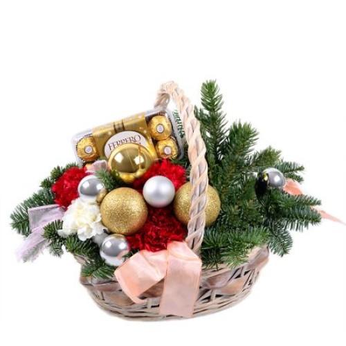 Купить на заказ Заказать Корзинка «Новогоднее настроение» с доставкой по Степногорску с доставкой в Степногорске