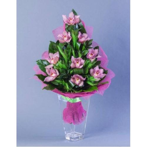 Купить на заказ Заказать Букет из 9 Орхидей с доставкой по Степногорску с доставкой в Степногорске